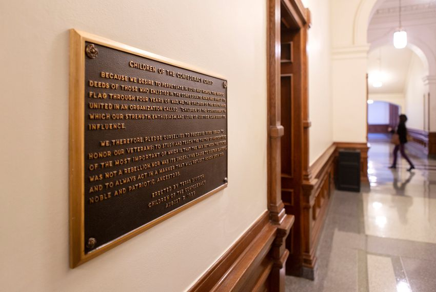 "The ""Children of the Confederacy Creed"" plaque has drawn controversy for its denial that preserving slavery was an underlying cause of the Civil War. Dec. 5, 2018."