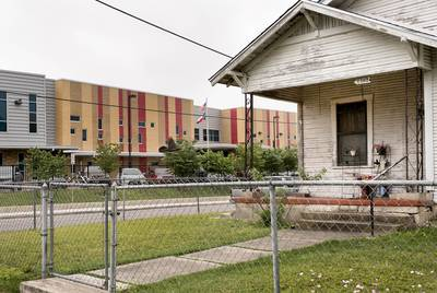 Ogden Elementary School in San Antonio. Bexar County's school districts are among the most segregated in the state, with boundary lines historically drawn to consolidate resources. San Antonio ISD is working to create more socioeconomic and racial diversity through public school choice measures.