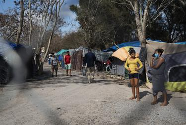 The closed-down migrant camp is seen in Matamoros, Mexico on Feb. 24, 2021. Approximately 800 asylum seekers in the camp were restricted from exiting to prevent others that live in the city to go in and skip the line in being processed into the U.S.  Verónica G. Cárdenas for The Texas Tribune/ProPublica