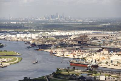 Refinery complexes along the Houston Ship Channel.