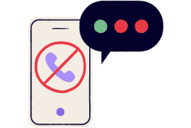 A phone with a speech bubble over it.