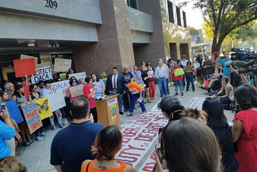 DACA supporters held a press conference in front of the Texas Attorney General's Office in Austin on Tuesday, Sept. 5, 2017, after the Trump administration announced the program was ending.