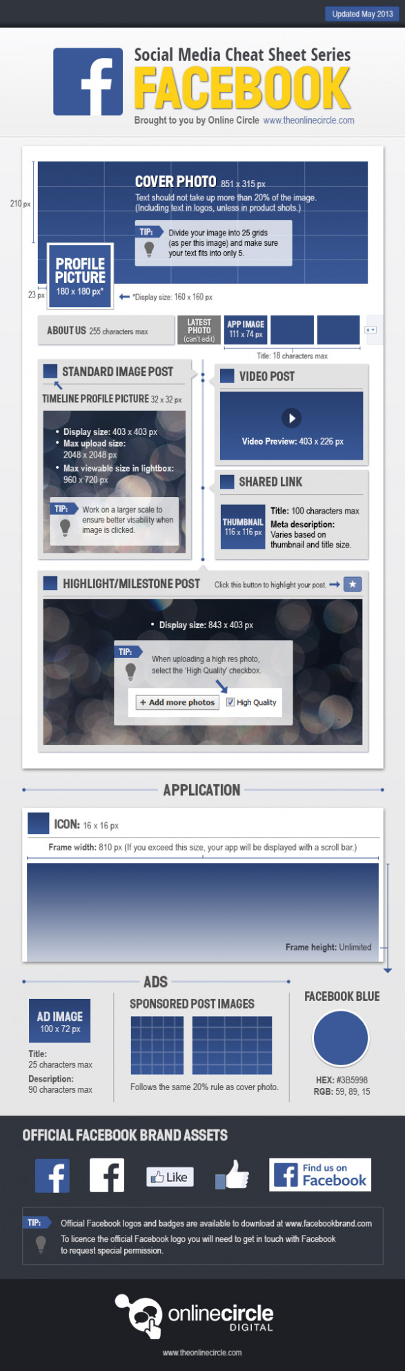 Online Circle Digital   Facebook Sizes and Dimensions Cheat Sheet 2013