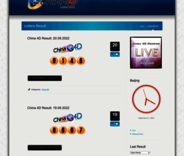 Chinadlottery Com At Wi China D Lottery