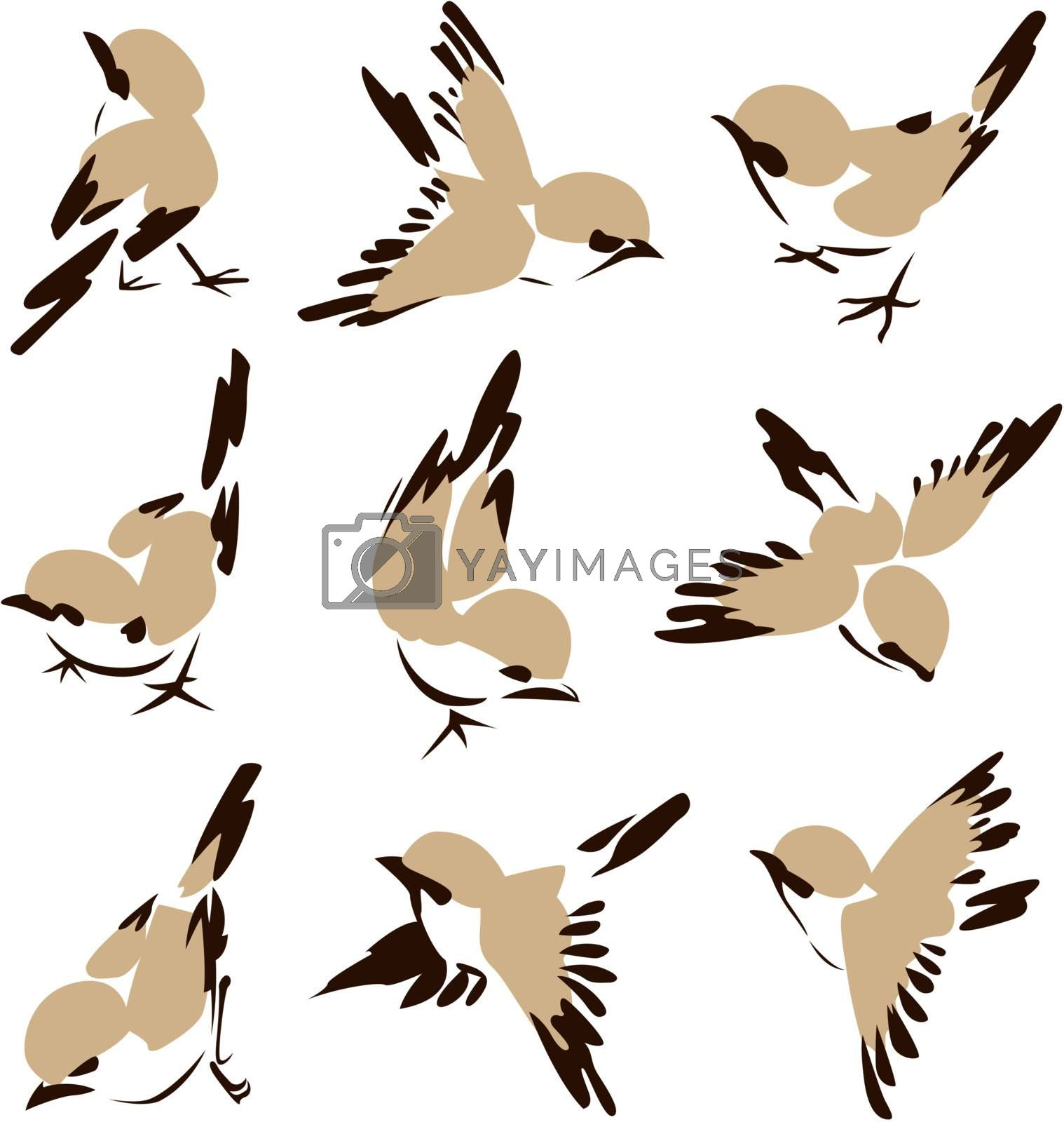 Stylish Flying Bird Painting Drawing Set Royalty Free Stock Image Stock Photos Royalty Free Images Vectors Footage Yayimages
