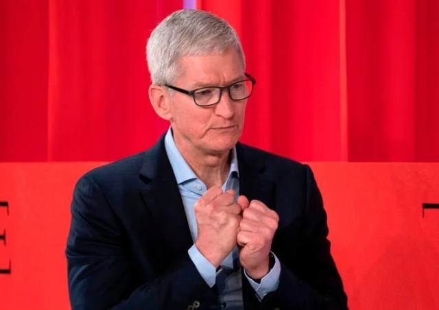 Apple CEO Tim Cook speaks during the Time 100 Summit event on April 23, 2019, in New York (Photo: Don Emmert/AFP/Getty Images)