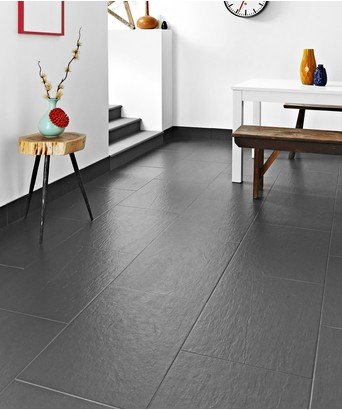 slate effect black floor tile