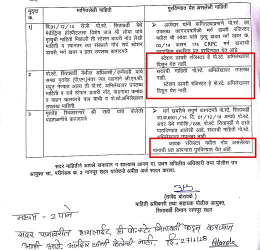 Portion of the document dated January 26, 2018 bearing stamp of the Assistant Commissioner of Police, Sitabuldi, Nagpur; highlights show relevant portions on missing 2014 station diary, non availability of ambulance and driver details and whether identity of Dr Prashant Rathi was verified or not