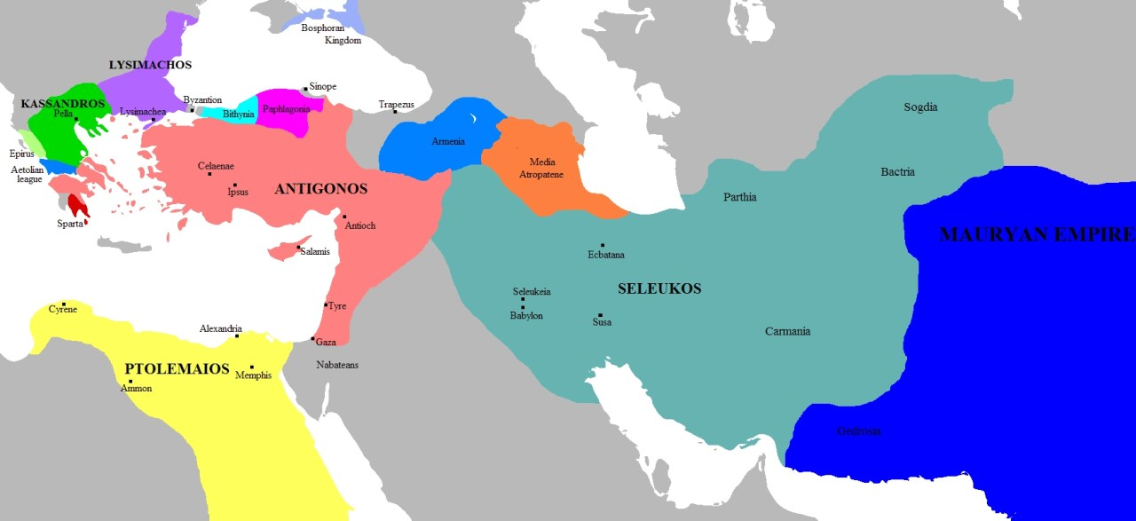 Split-up of Alexander's empire after the War of the Diadochi. Seleucid Empire Marked in Green (<a href=
