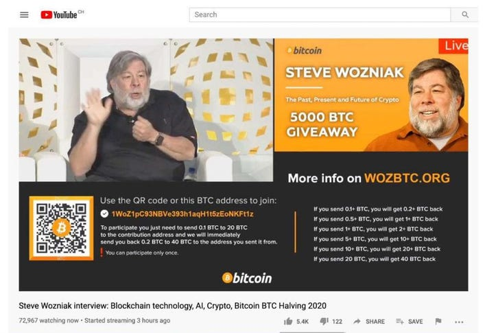 Steve Wozniak, Apple, YouTube, Google, bitcoin, crypto, Twitter, image