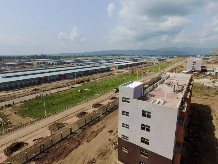 An aerial view of a new industrial park built in Hawassa, Ethiopia.
