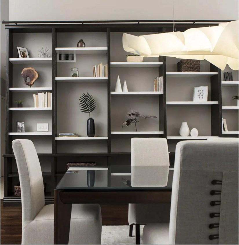 staged bookshelves