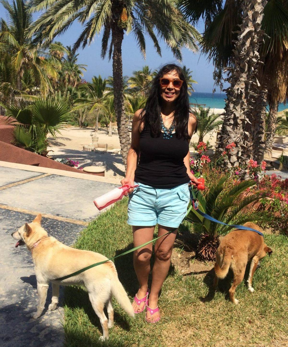Baja California woman and two dogs