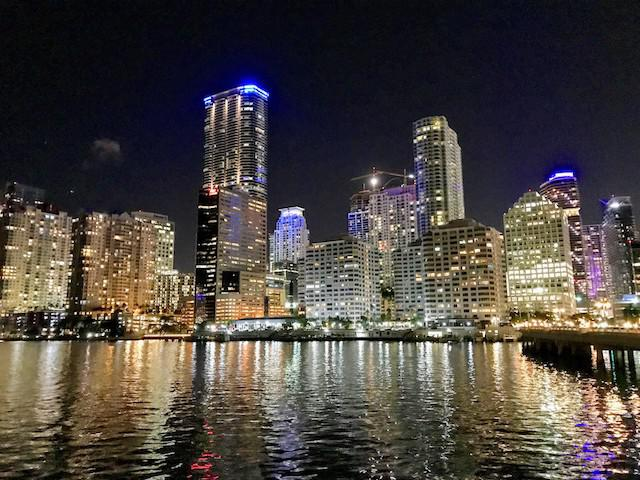 View of the Miami skyline from the hotel at night