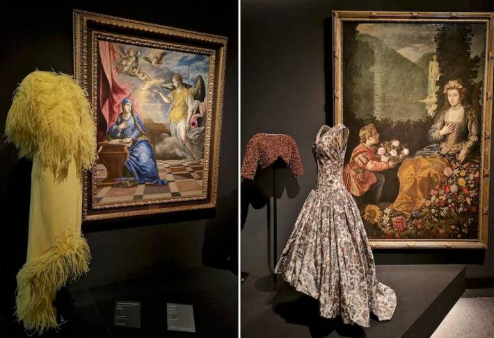 Balenciaga's evening dress from the 1940s with El Greco's The Annunciation, 1576