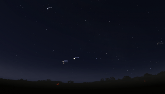 In the pre-dawn hours on the morning of March 31, 2020, Mars and Saturn will make a very close... [+] approach to one another, coming within 0.9 degrees of each other, while Jupiter remains farther away at about 6 degrees separation from the close pair.