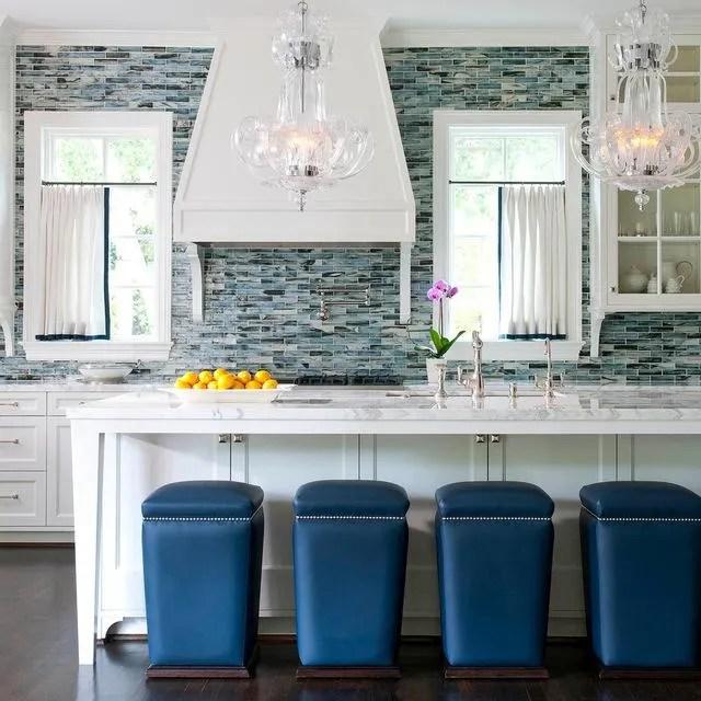 glass mosaic and natural stone backsplashes