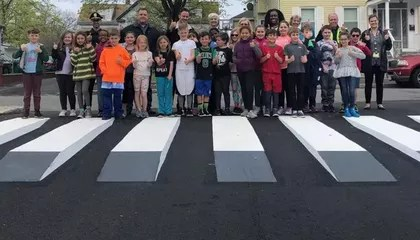 Massachusetts Elementary Students Led Campaign to Install '3-D' Crosswalk in Front of School