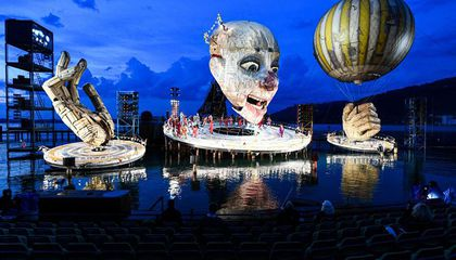 There's a Massive Jester Floating on Austria's Lake Constance