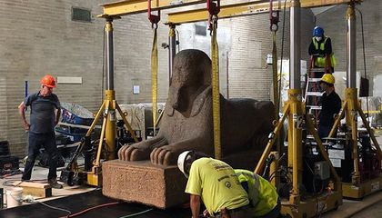 The Penn Museum Just Floated a 12-Ton Sphinx Out a Window