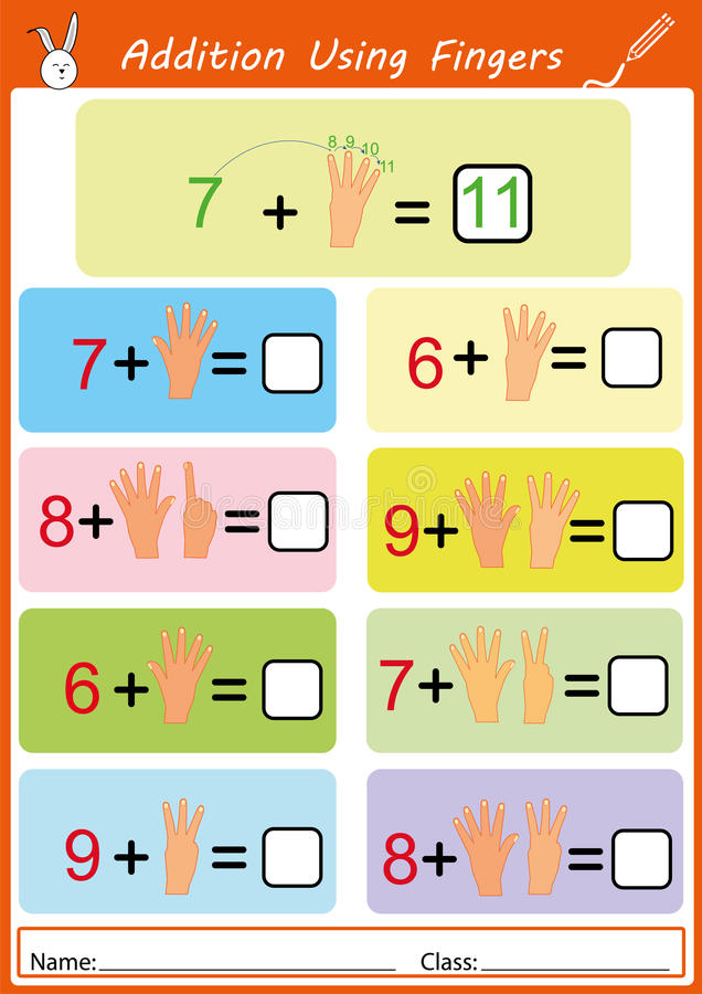 Addition Using Fingers Math Worksheet For Kids Stock