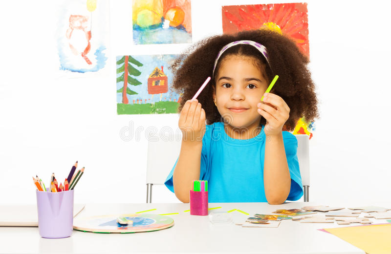 African Girl Holds Cuisenaire Rods Learn To Count Stock