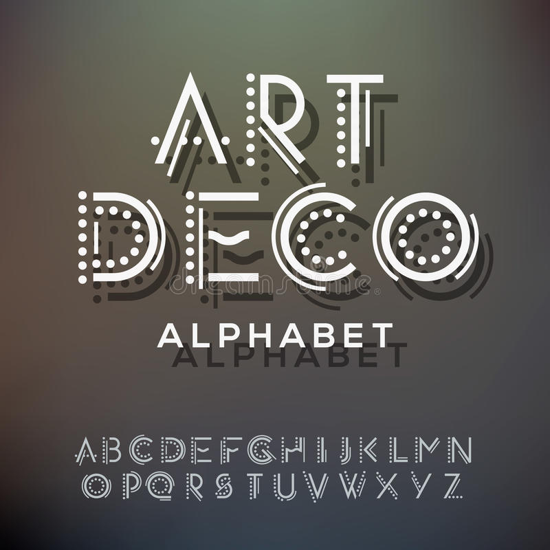 Alphabet Letters Collection Art Deco Style Stock Vector