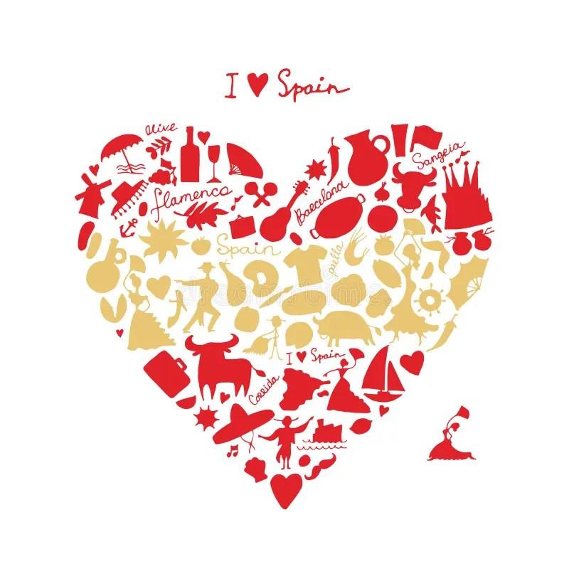 Download Amour De L'Espagne, Forme De Coeur D'art Croquis Pour ...