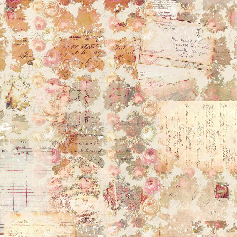 Antique Vintage Roses Patterned Background In Rustic Fall