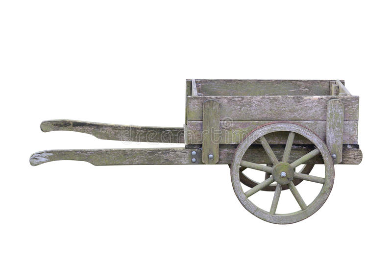 Antique Wooden Garden Trolley Isolated On White Background Stock