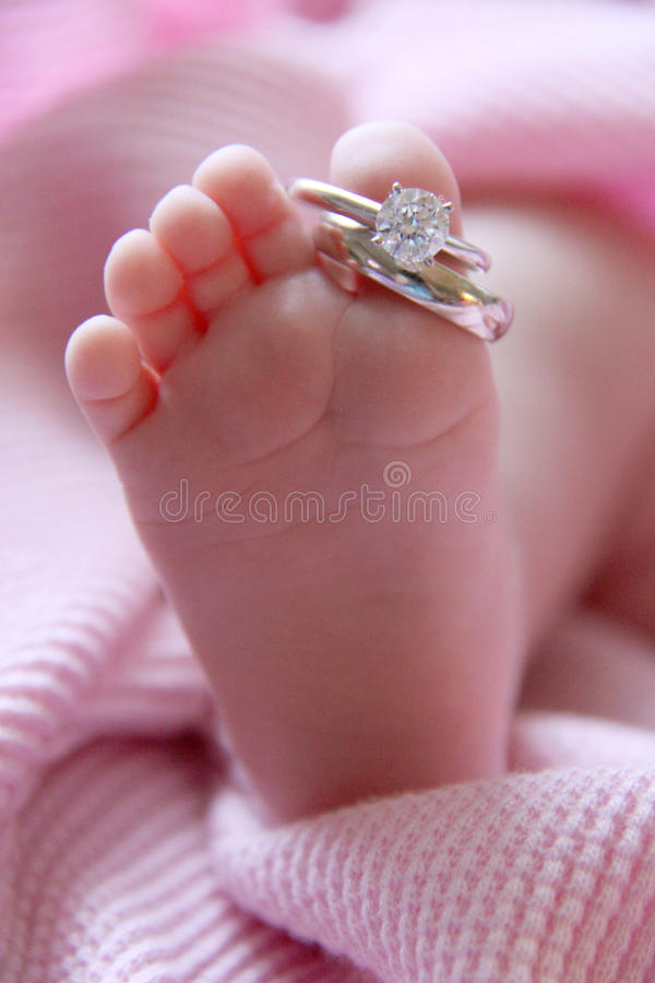 Baby Foot And Wedding Rings Stock Photo Image Of Blanket
