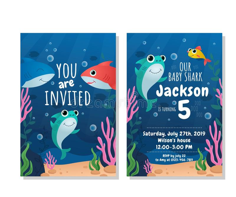 baby shark party invitation cards