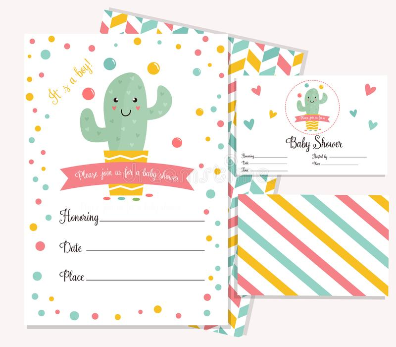 Baby Shower Card With Cute Cactus Stock Vector