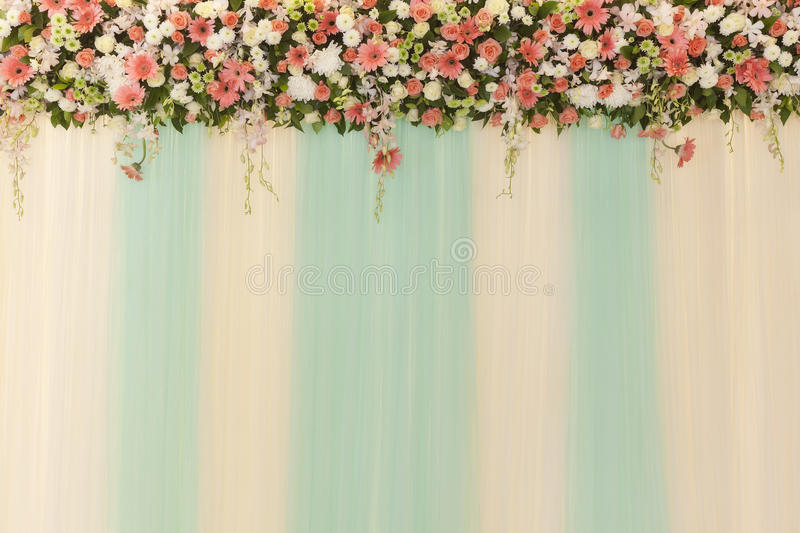 Beautiful Flowers And Wave Curtain Wall Background Wedding Cer Stock Photo Image 58511888