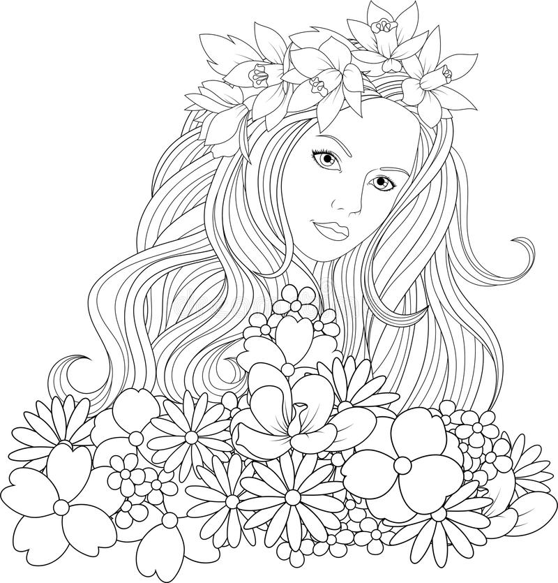Beautiful Girl Coloring Pages Stock Vector Illustration Of Design Business 111117258