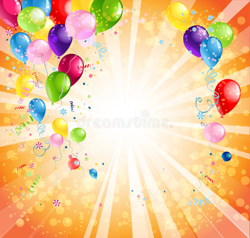 Happy Birthday Background With Balloon And Gifts Stock