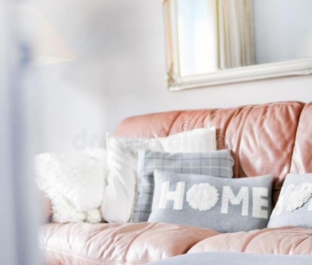 Brown And Grey Leather Sofa With Throw Pillows Free Public Domain Cc Image