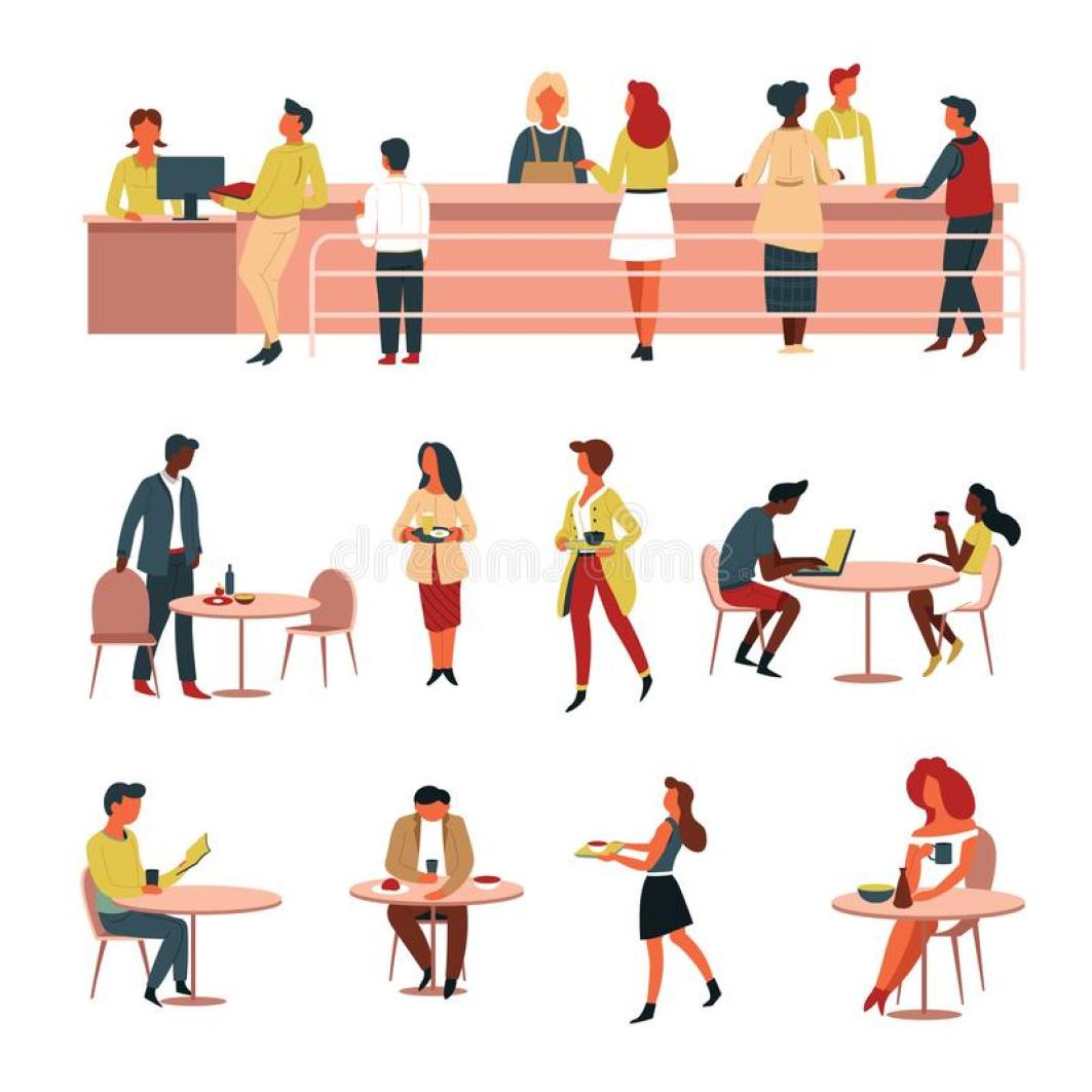 Canteen Line Cash Counter and Tables Food and Drink Stock Vector - Illustration of meal, kitchen: 143791089