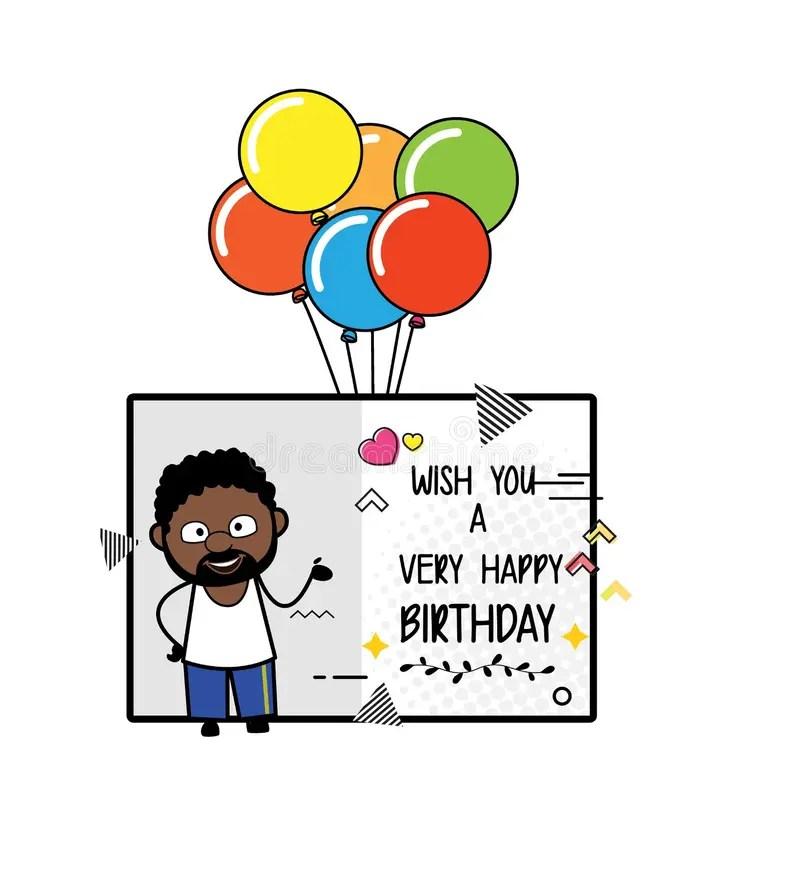 Cartoon African American Man Happy Birthday Wishes Stock Illustration Illustration Of Birthday Message 191443763