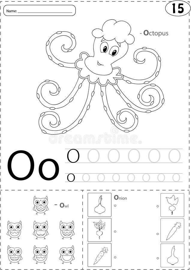 Cartoon Octopus Owl And Onion Alphabet Tracing Worksheet