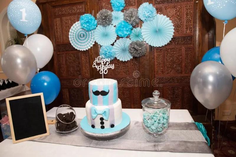 Blue Birthday Table Decoration Stock Photo Image Of Birthday Plates 169808102