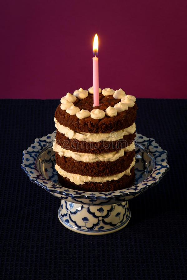 Chocolate Birthday Cake Burning Candle Royalty Free Stock