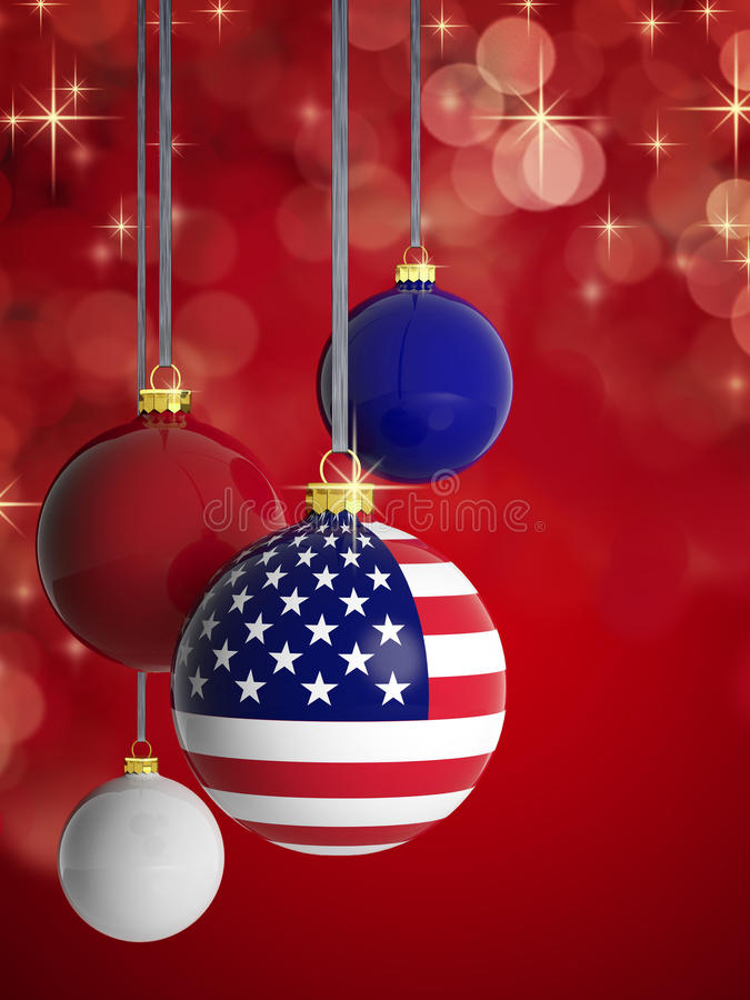 Christmas Balls With USA Flag Stock Illustration Image