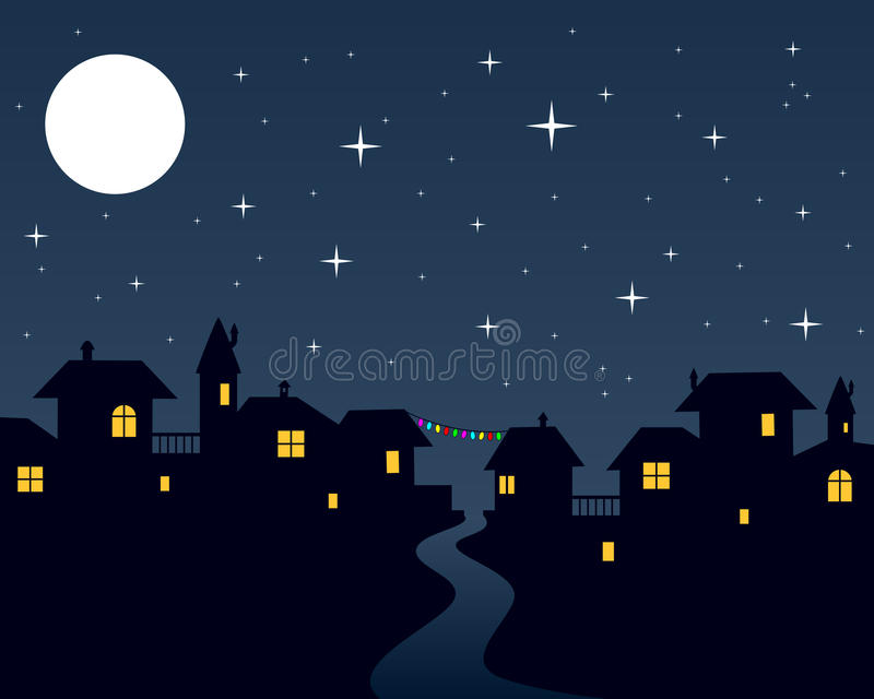 Christmas Night Town Scene Stock Vector Illustration Of