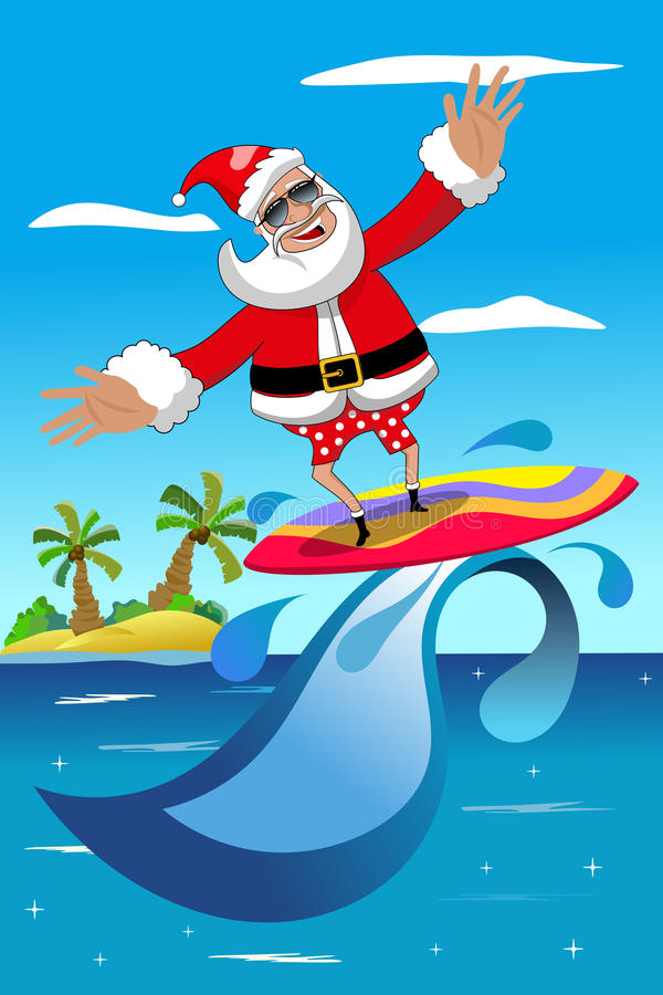 Christmas Santa Claus Surfing Tropical Sea Stock