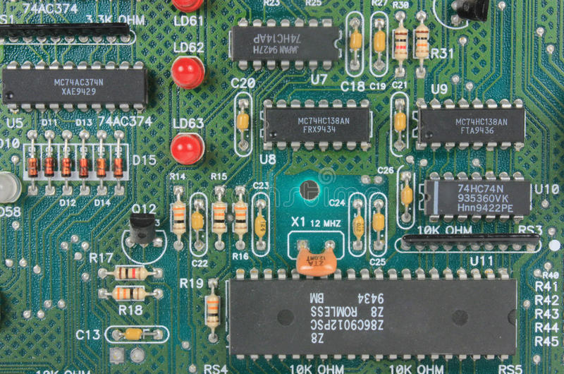 Circuit Board With Electronic Components Stock Image