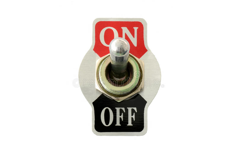 Closeup Front View Of Toggle Switch Stock Photo