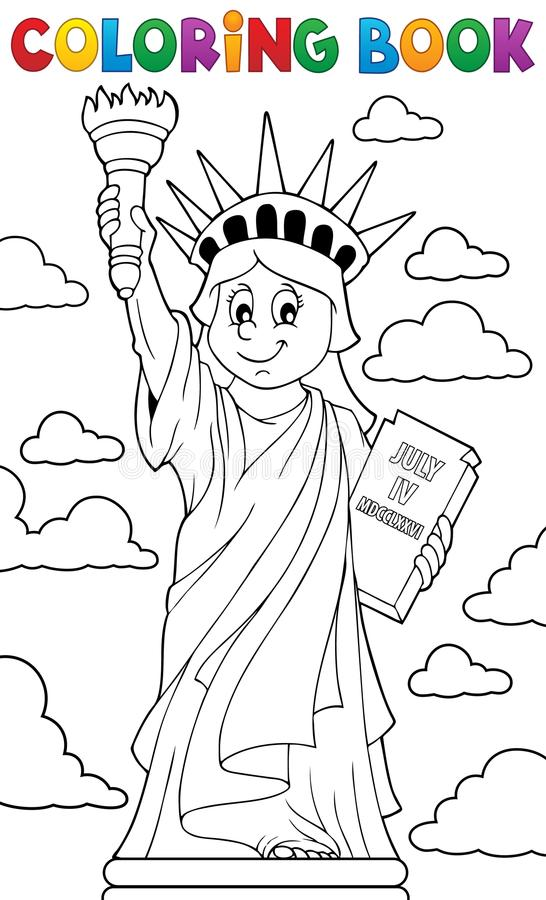 Coloring Book Statue Of Liberty Theme 1 Stock Vector