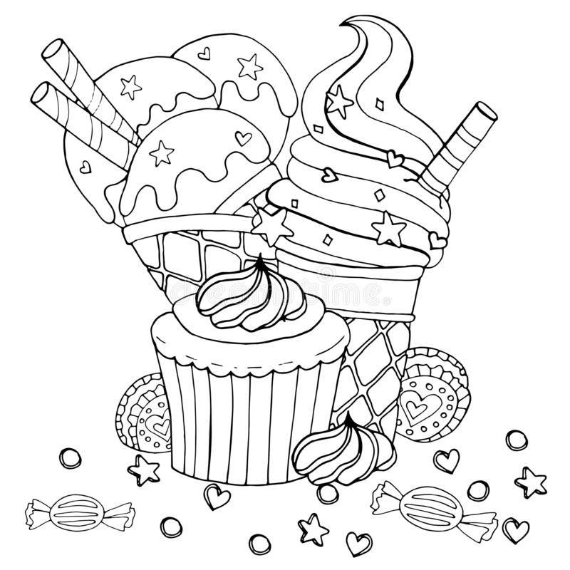 cupcakes ice cream and candy stock vector  illustration