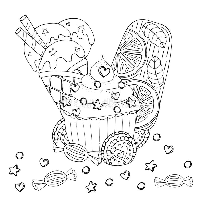 Coloring Page With Cake Cupcake Candy Ice Cream And Other Dessert Stock Vector Illustration Of Contour Cake 147816961